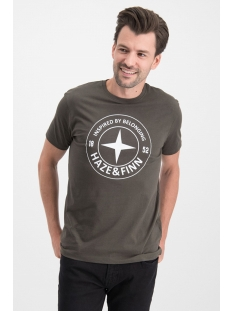 Haze & Finn T-shirt ME  0018 TEE LOGO CIRCLE KHAKI/ARMY GREEN