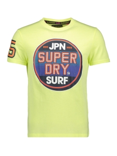 Superdry T-shirt STICKER TAB TEE M10000TQ BLEACHED ULTRA LEMON