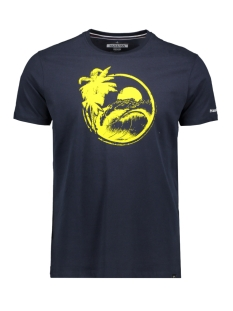 Haze & Finn T-shirt TEE QUOTE MU11 0013 DARK NAVY/GOLDEN ROD PRINT