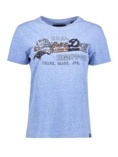 sequin entry tee g10123st superdry t-shirt cruz blue snowy