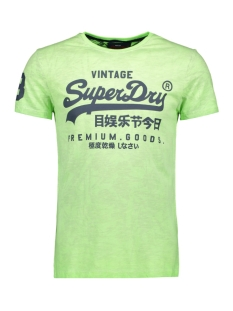 premium goods  mid weight aop tee m10109yt superdry t-shirt fluro lime
