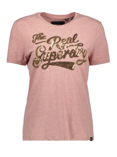 Superdry T-shirt GLITTER SEQUIN ENTRY G10314TU SMOKY PINK SNOWY