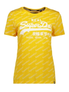 sport aop entry tee g10321tu superdry t-shirt spectra yellow burn out
