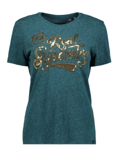 Superdry T-shirt GLITTER SEQUIN ENTRY G10314TU DEEP ATLANTIC TEAL RUGGED