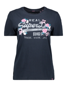floral entry tee g10317au superdry t-shirt eclipse navy