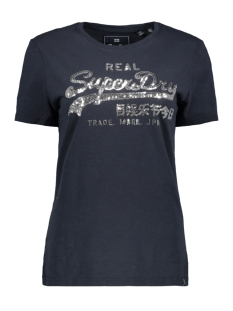 Superdry T-shirt SEQUIN ENTRY TEE G10319TU ECLIPSE NAVY SLUB