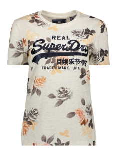 Superdry T-shirt ROSE AOP ENTRY TEE G10322SU OATMEAL MARL
