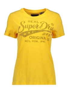 mock denim entry tee w1000021b superdry t-shirt sporty ochre