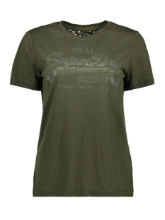 Superdry T-shirt LOGO BURNOUT ENTRY W1000034A WASHED KHAKI