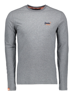 embroidery ls tee m60103mt superdry t-shirt grey navy feeder