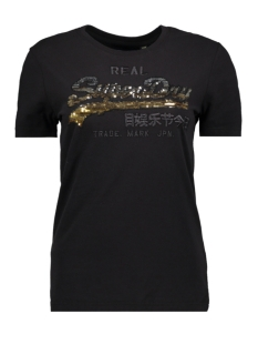 Superdry T-shirt SEQUIN ENTRY TEE W1000087A BLACK