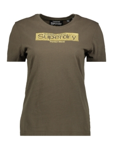 Superdry T-shirt BRAND EMB ENTRY TEE W1000066A WASHED KHAKI