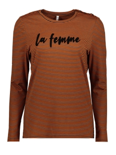 Zoso T-shirt 195 LAFEMME STRIPED PRINT SHIRT BLACK/BURNT ORANGE