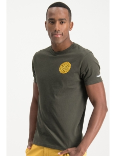 Haze & Finn T-shirt TEE SMALL GLOBE MU13 0014 ARMY GREEN-MELLOW YELLOW