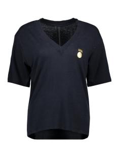 10 Days T-shirt LOW V NECK TEE LINEN 20 750 0202 DARK GREY BLUE