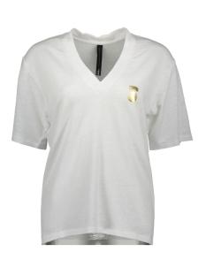 10 Days T-shirt LOW V NECK TEE LINEN 20 750 0202 WHITE