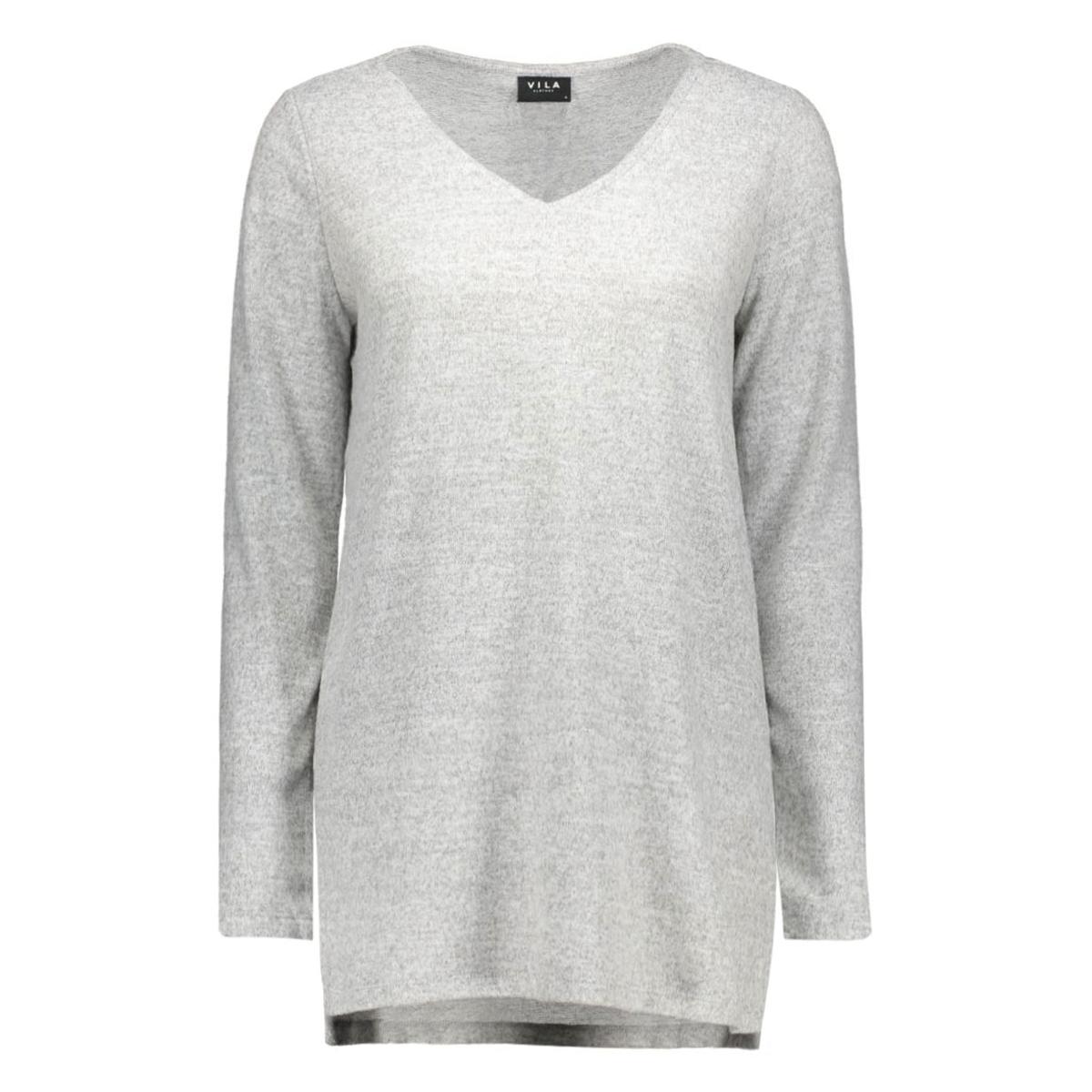 vilune long knit top gv 14036384 vila trui light grey mela