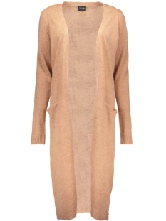 riva long knit cardigan-noos 14015571 vila vest dusty camel/melange