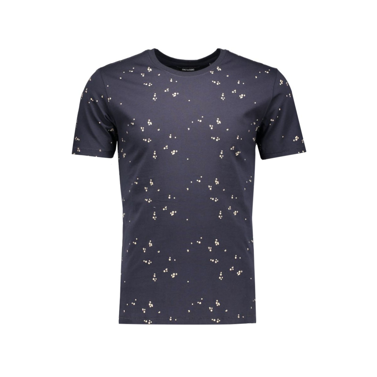 onsnader fitted aop tee 22004128 only & sons t-shirt dark navy