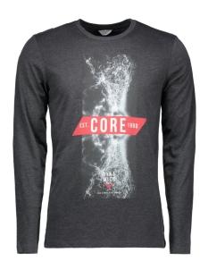 jcodont tee ls crew neck 12113844 jack & jones t-shirt dark grey melange
