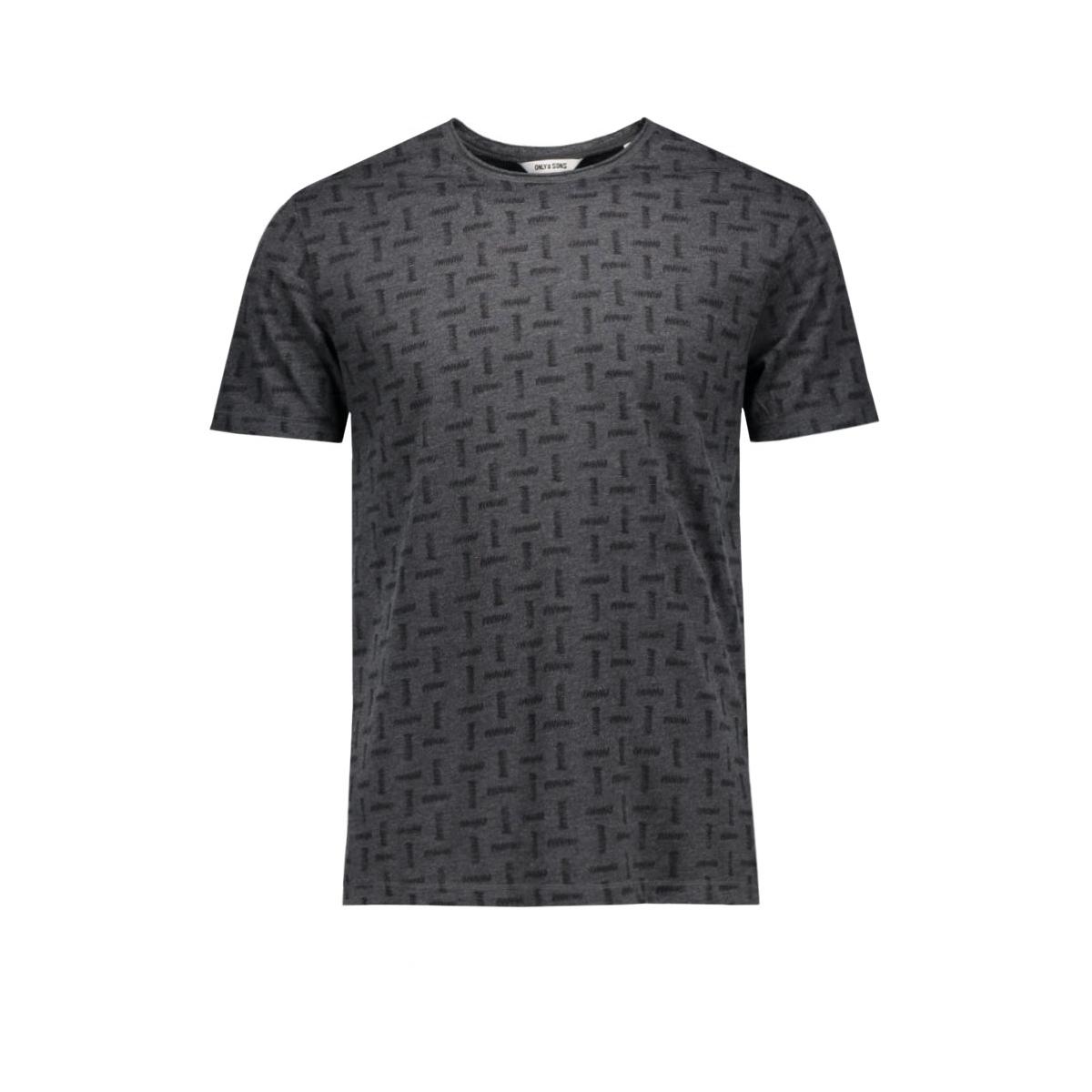 onskomma fitted aop tee 22004290 only & sons t-shirt dark grey melange