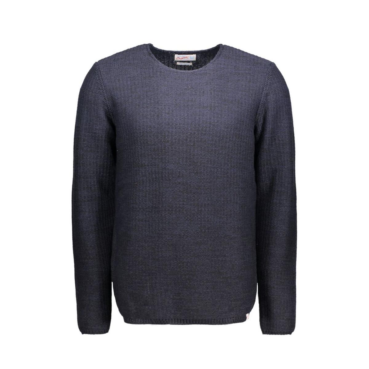 jorswing knit crew neck camp 12109553 jack & jones trui navy blazer