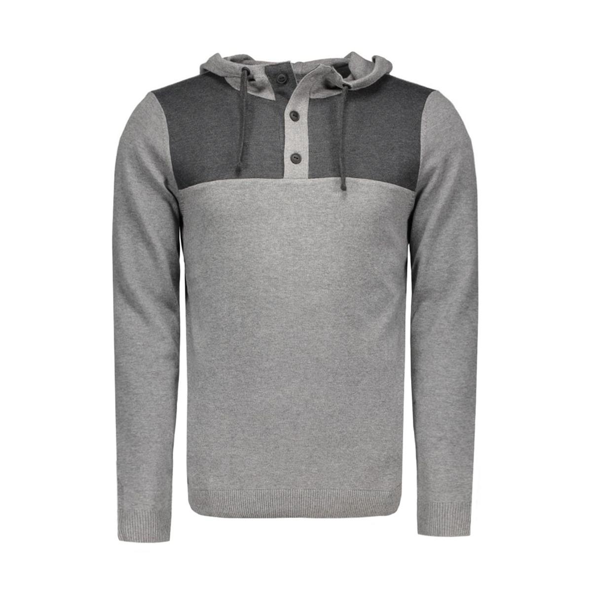 jcotravis knit hood 12113029 jack & jones sweater grey melange/ knit fit
