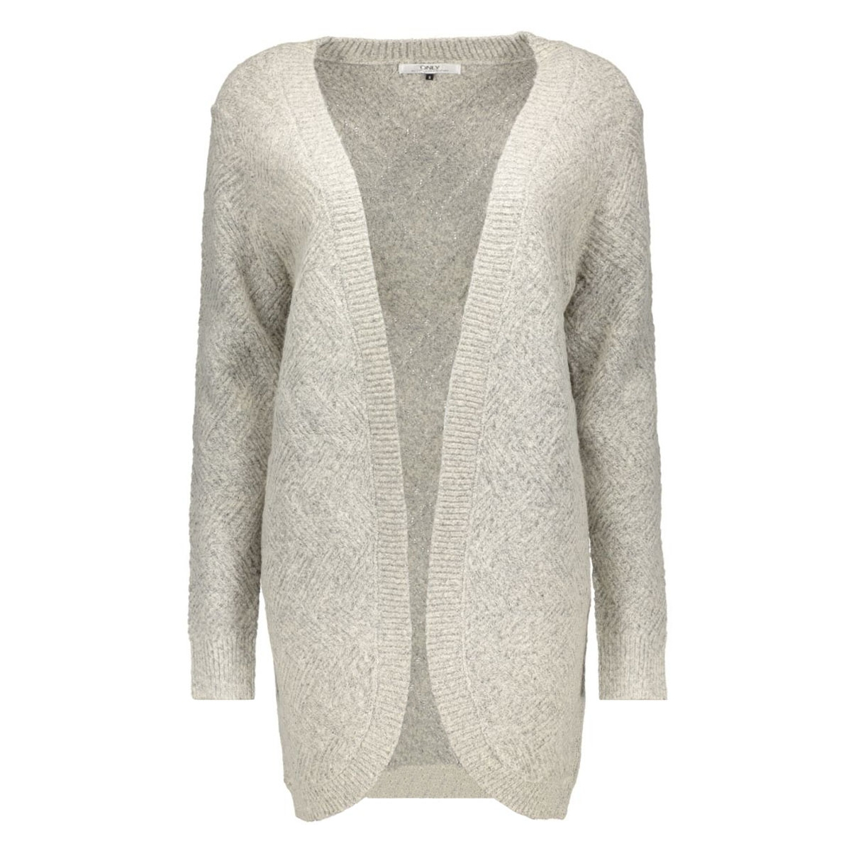 onlbretagne l/s open cardigan knt noos 15120119 only vest light grey melange