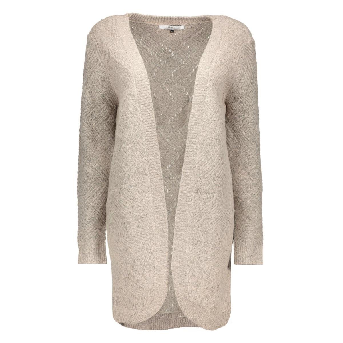 onlbretagne l/s open cardigan knt noos 15120119 only vest pumice stone/w melange