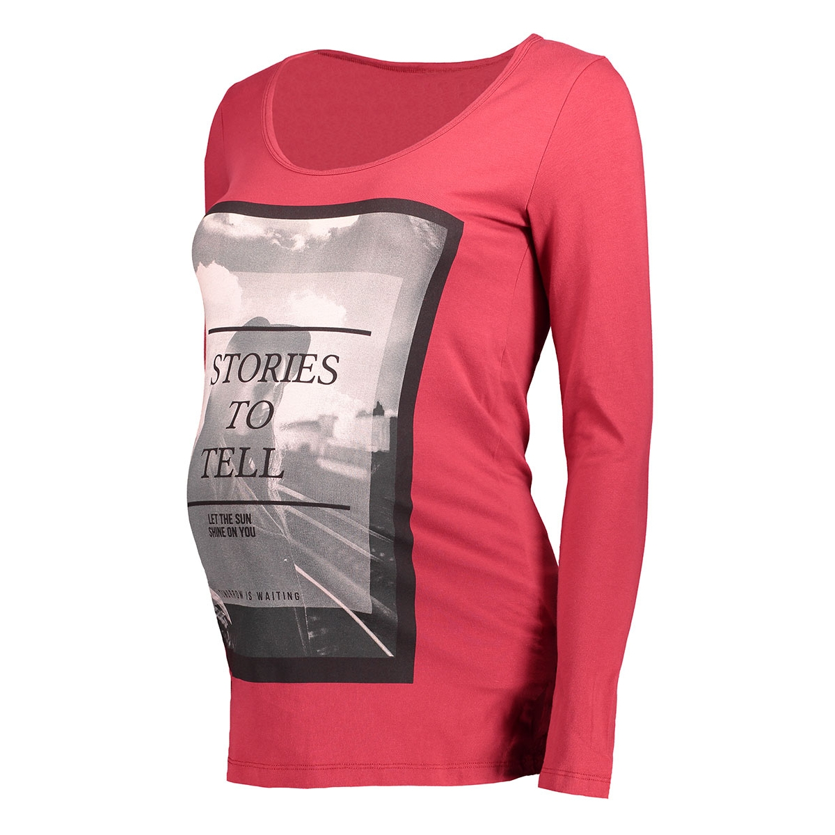 mlicon l/s jersey top 20006868 mama-licious positie shirt rio red