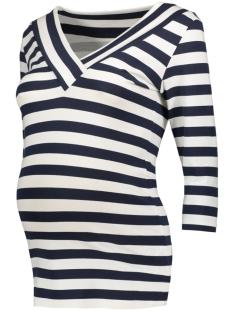 Mama-Licious Positie shirt MLMARIANNE 3/4 JERSEY TOP A 20007269 Navy Blazer/ Snow White