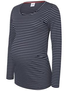 Mama-Licious Positie shirt MLMIND L/S JERSEY RIB  TOP 20007657 Navy Blazer/Snow White