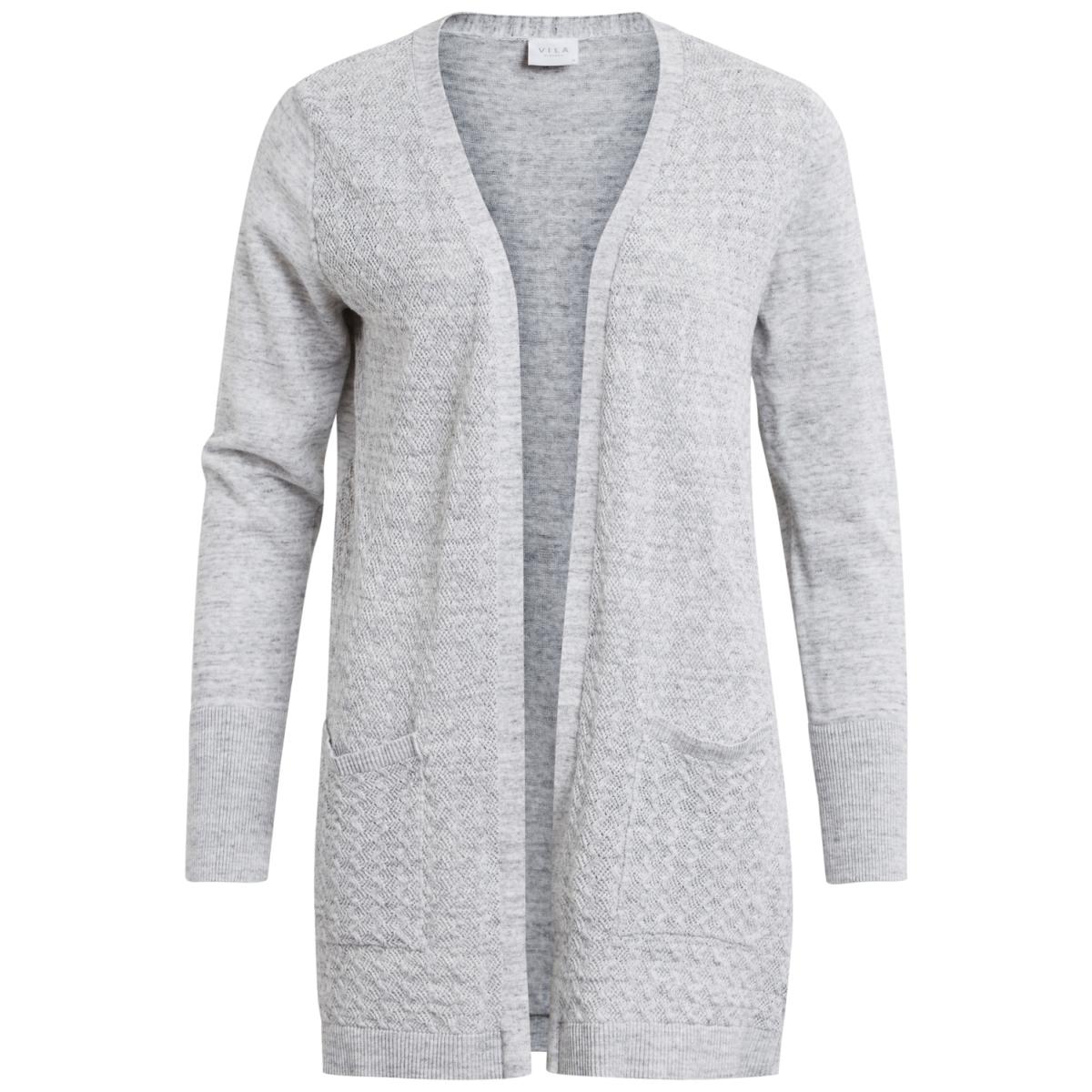 vimartha l/s open knit cardigan pb 14042199 vila vest super light grey melange