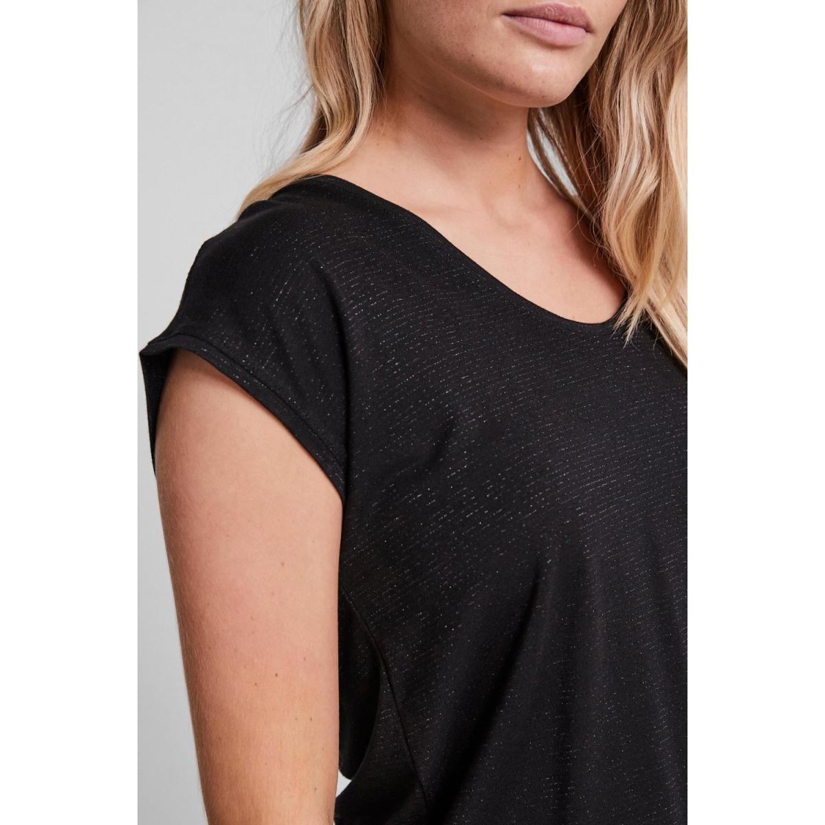 pcbillo tee lurex stripes noos 17078572 pieces t-shirt black/ lurex black