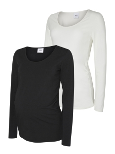 Mama-Licious Positie shirt MLLEA ORGANIC L/S TOP 2PACK 20006320 Black/ Snow White