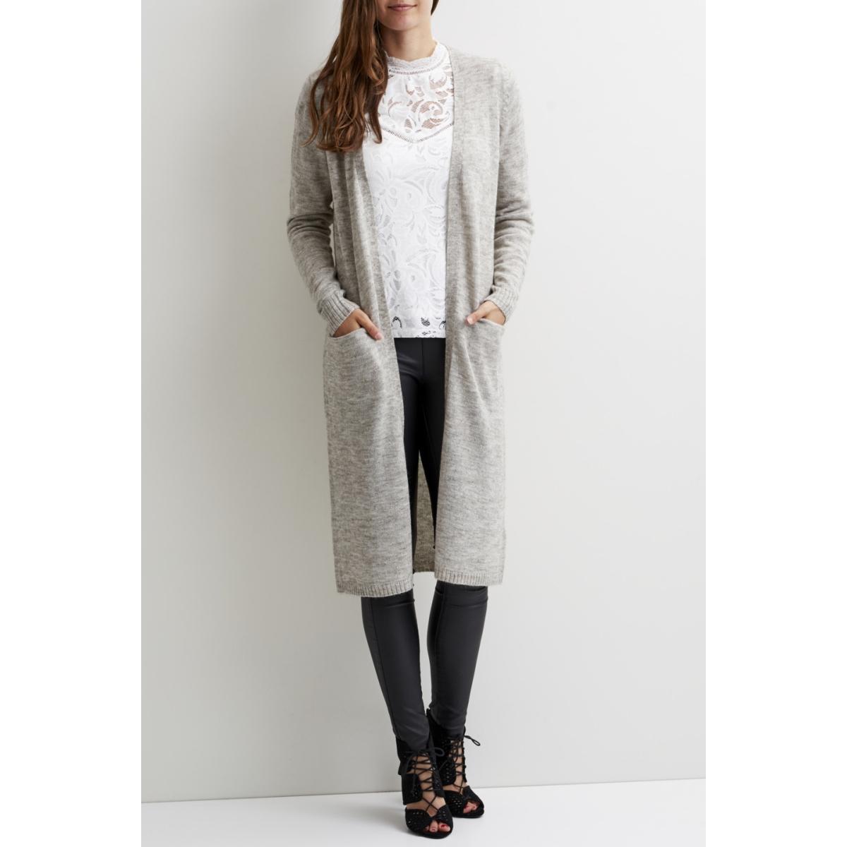 viriva l/s long knit cardigan-noos 14044324 vila vest light grey melange