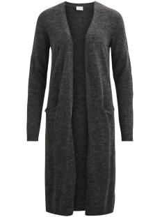 viriva l/s long knit cardigan-noos 14044324 vila vest dark grey melange