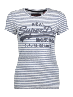 g10013hp vintage logo superdry t-shirt gd5 (atelier blue/white stripe)