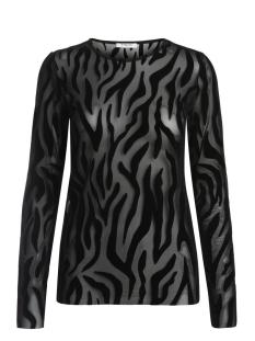 Pieces T-shirt PCRUSA L/S TEE 17085576 Black/Zebra stri