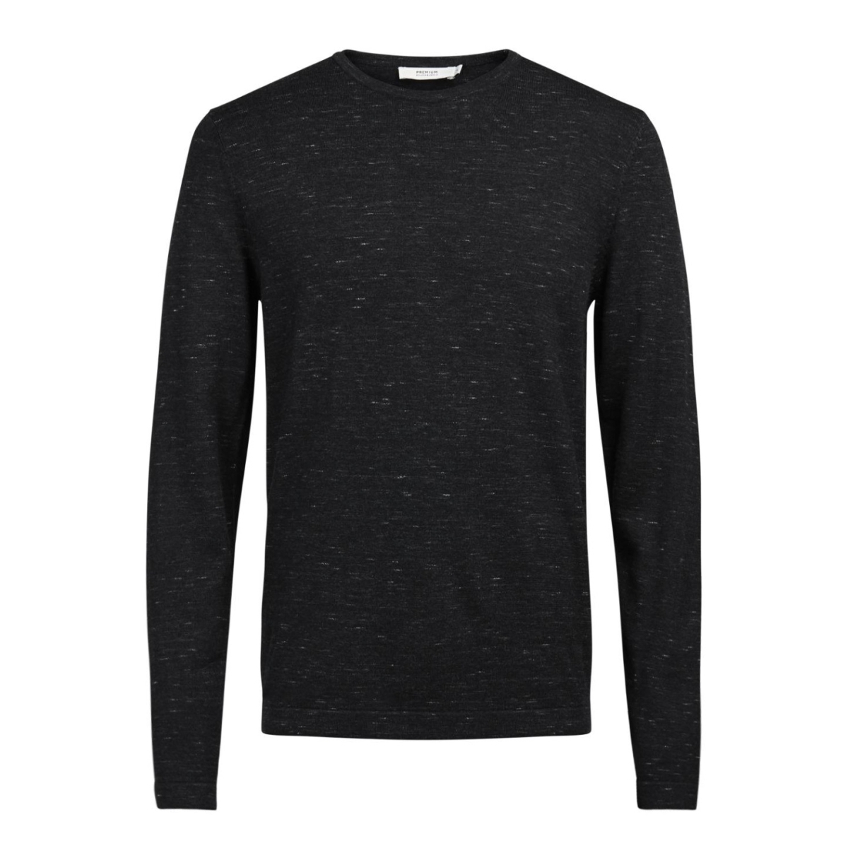 jprmikey knit crew neck 12123552 jack & jones trui black/melange