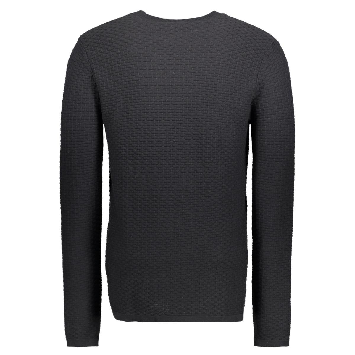 jprbrick knit crew neck 12124219 jack & jones trui black