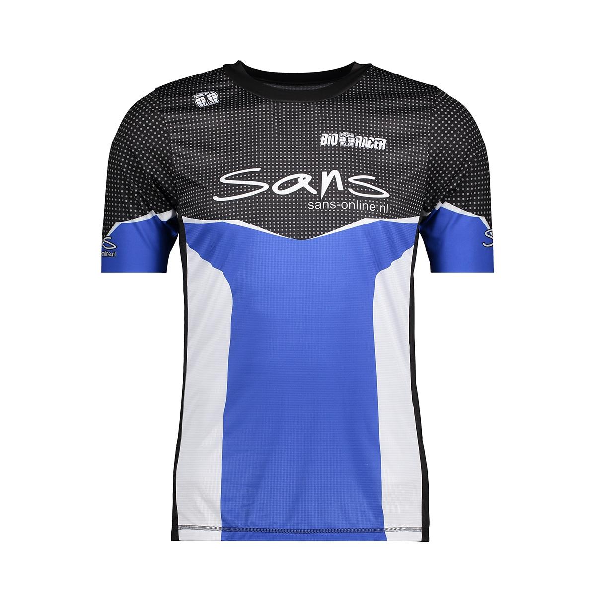 58123 running shirt sans sport shirt blauw wit