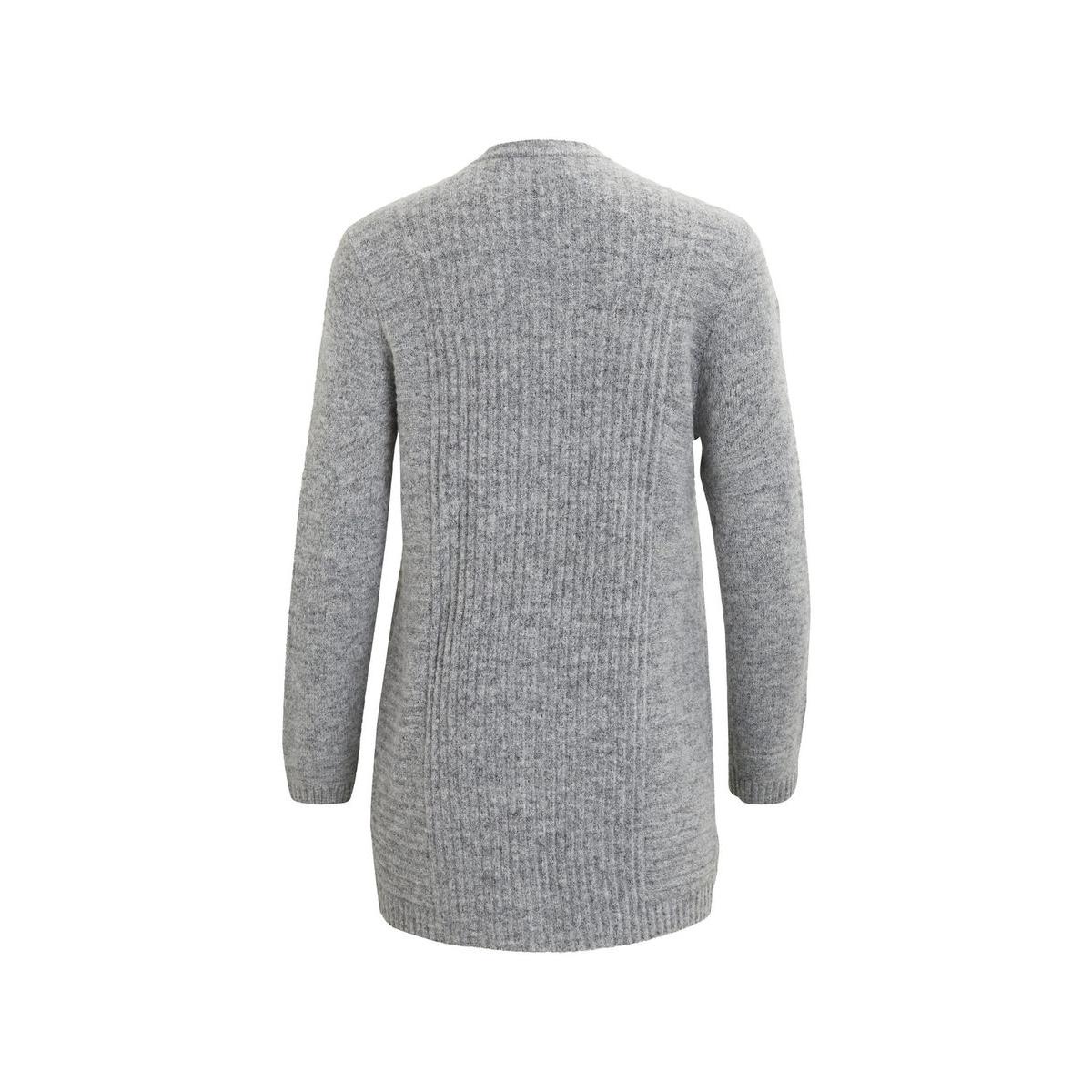 objnonsia rib l/s knit cardigan noo 23024915 object vest light grey melange