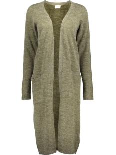 viriva l/s long knit cardigan-noos 14044324 vila vest ivy green/ melange