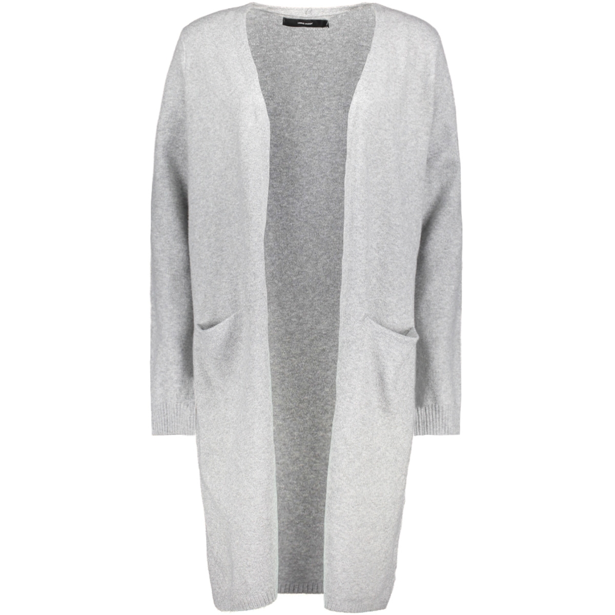 vmbrilliant ls long open cardigan noos  10180226 vero moda vest light grey melange