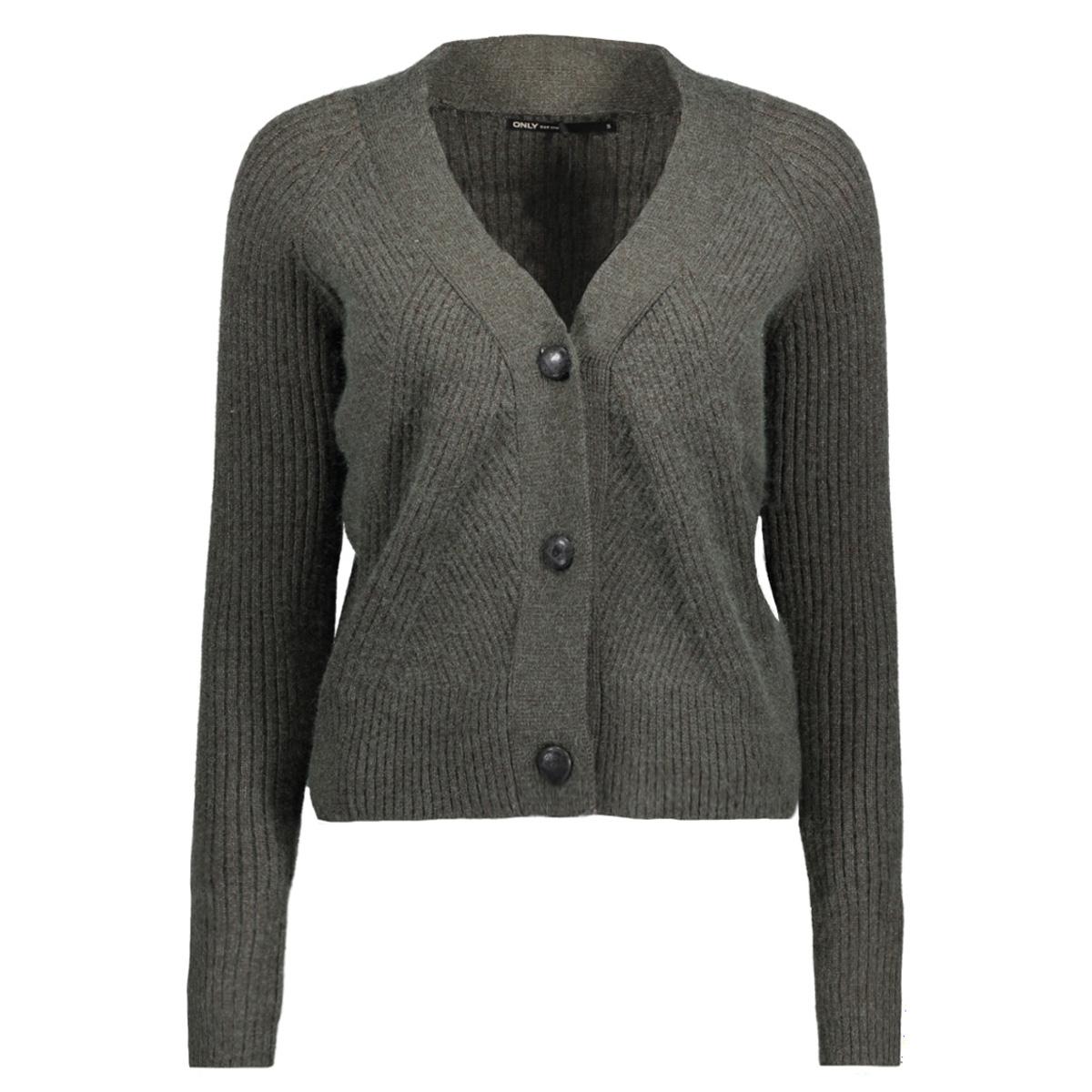 onlsmilla l/s button cardigan knt 15140086 only vest peat/w melange