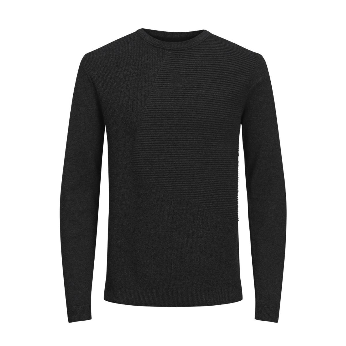 jcopenditon knit crew neck camp 12128544 jack & jones trui black