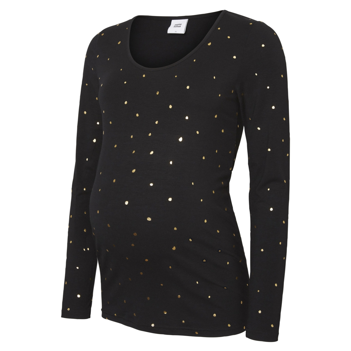 mldallas l/s jersey top 20008139 mama-licious positie shirt black/gold foil