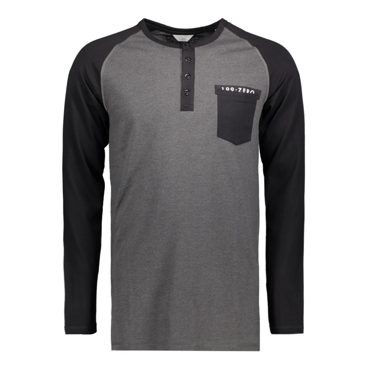 jcoperch tee ls grandad 12128838 jack & jones t-shirt dark grey melan/slim