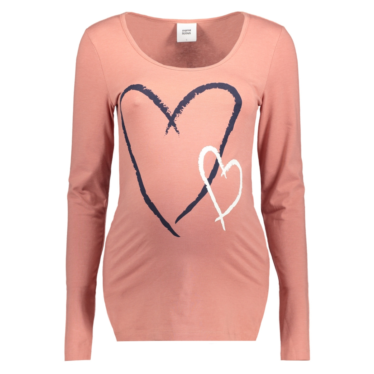 mlheartie l/s jersey top a 20008141 mama-licious positie shirt old rose/melange an